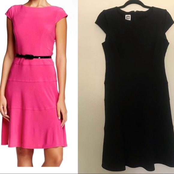 Anne Klein Dresses & Skirts - Anne Klein black cap sleeve scuba A-line dress